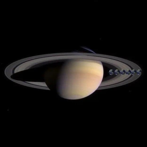 در این جا اندازه زمین و در واقع شش زمین در مقایسه با زحل را دارید